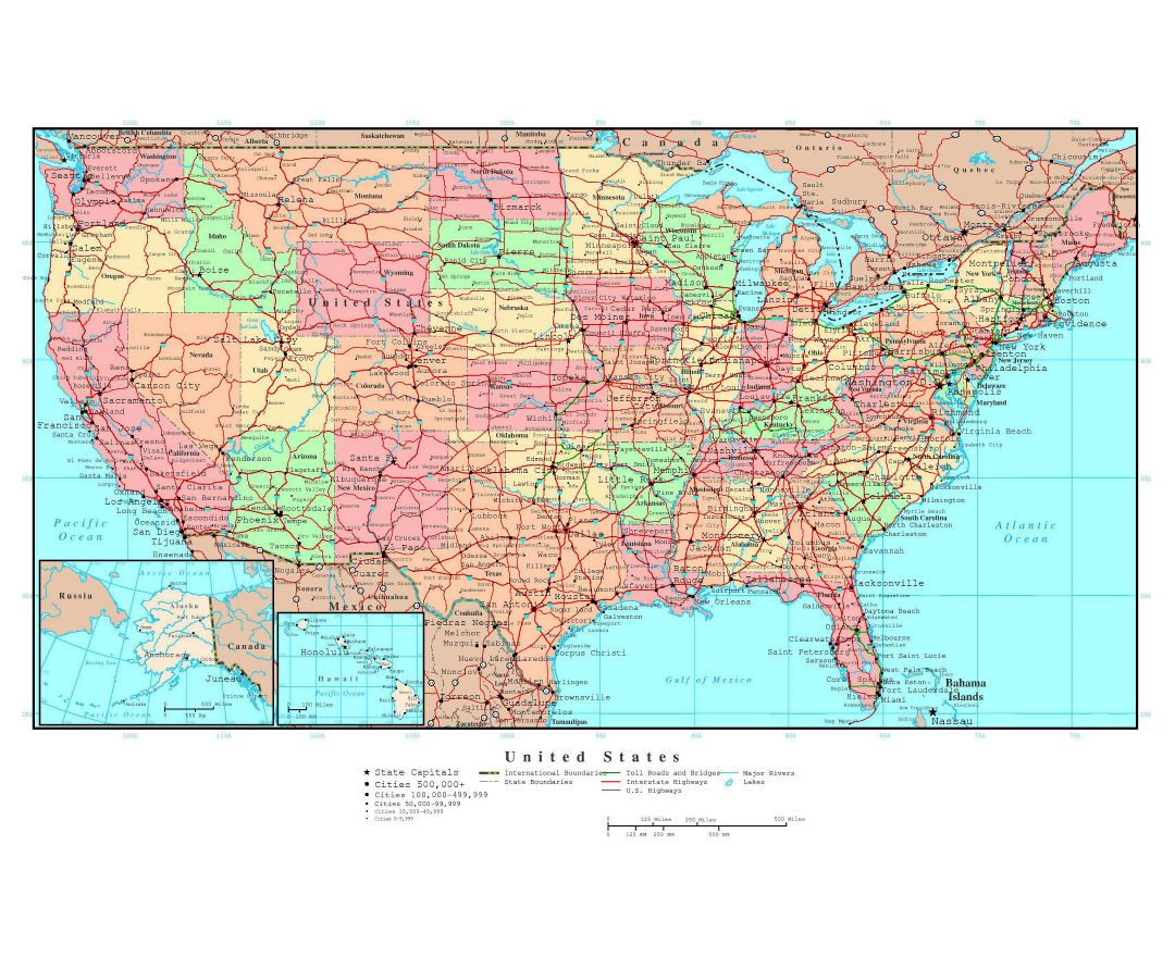 Maps Of The USA The United States Of America Political - Map of united states with capitals and major cities
