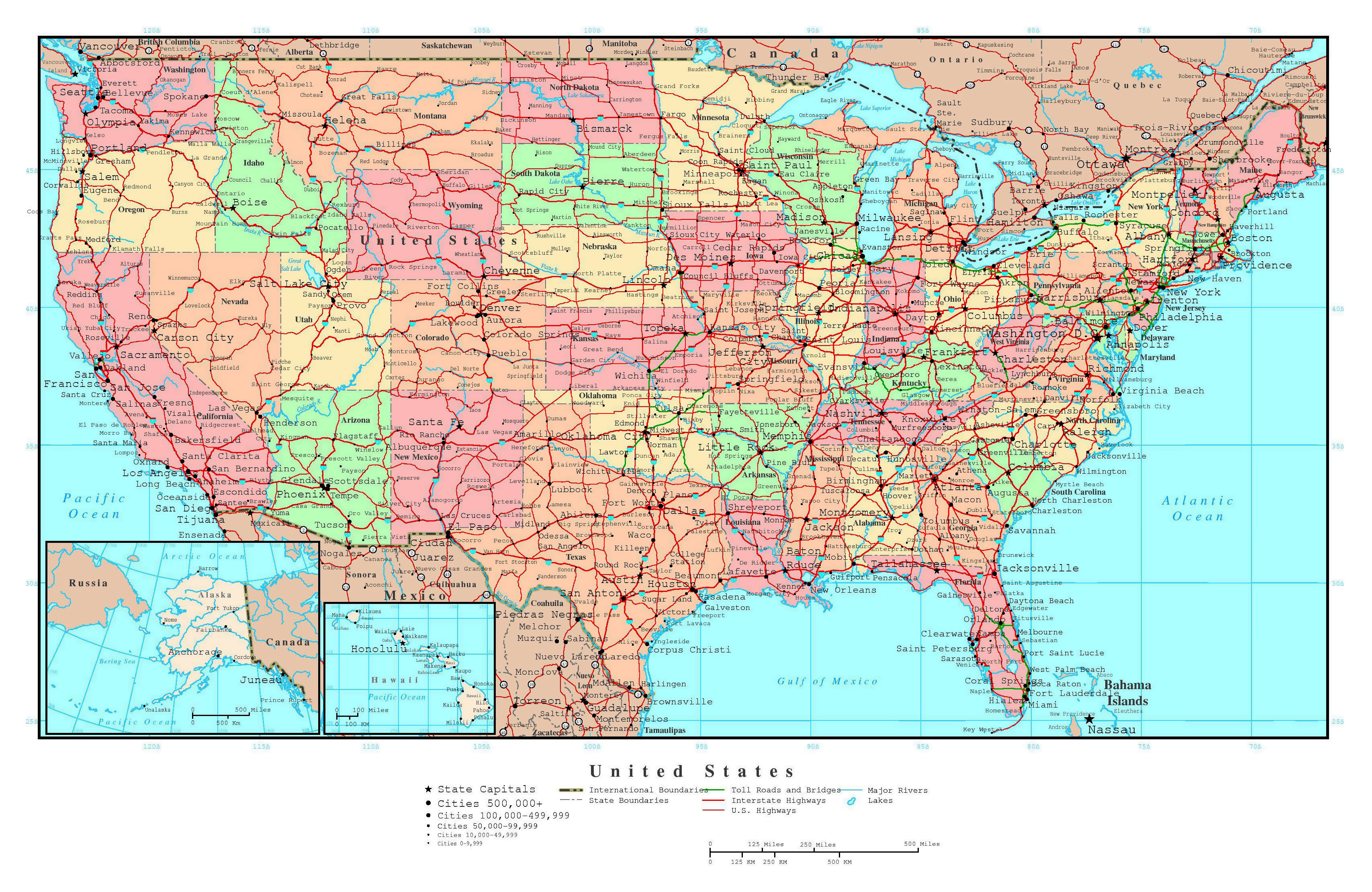 Large Detailed Political And Administrative Map Of The USA With - Usa map with cities and states detailed
