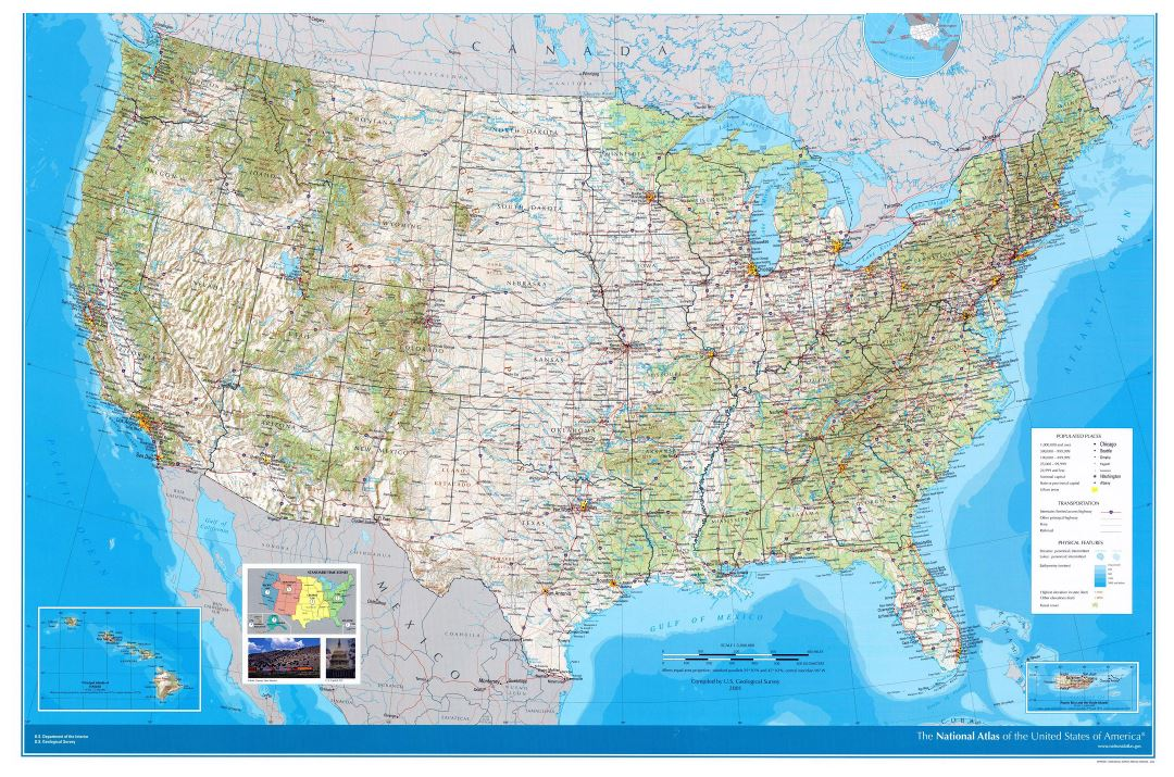 Large detailed road and topographical map of the USA