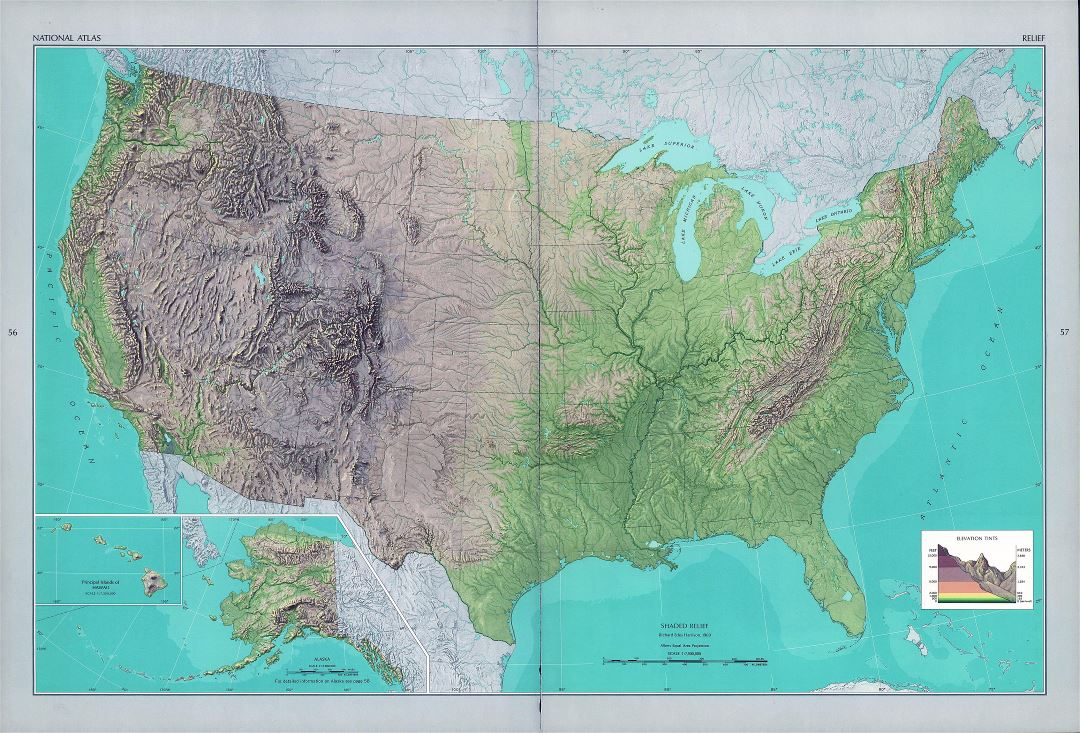 Large detailed shaded relief map of the USA