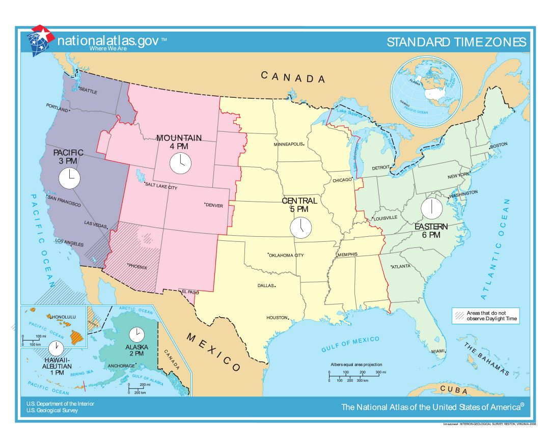 Large detailed time zones map of the United States