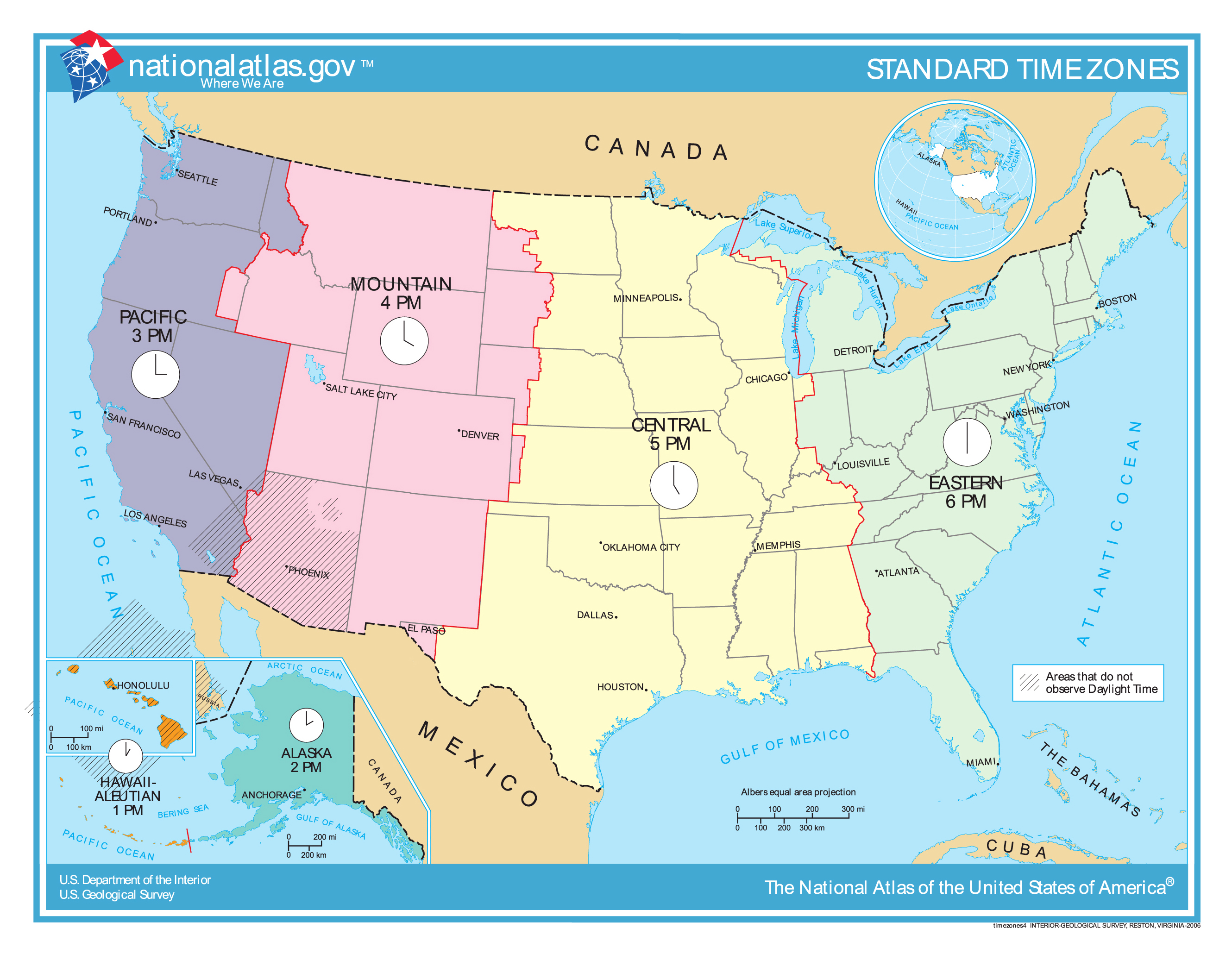 Large detailed time zones map of the United States USA Maps of
