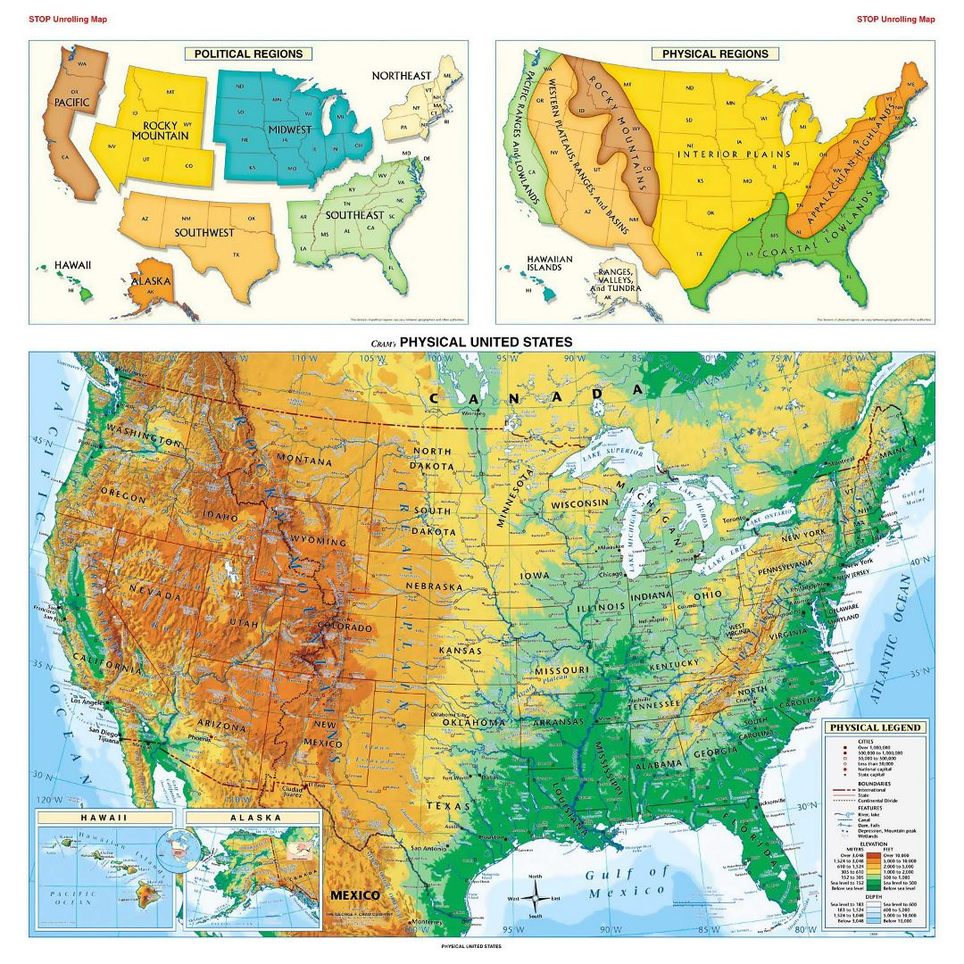 Large physical map of the USA