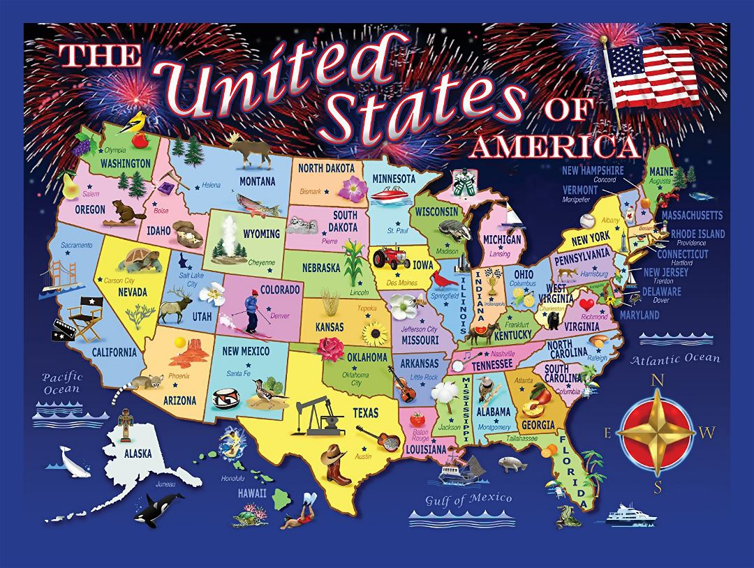 Large puzzle statemap of the USA