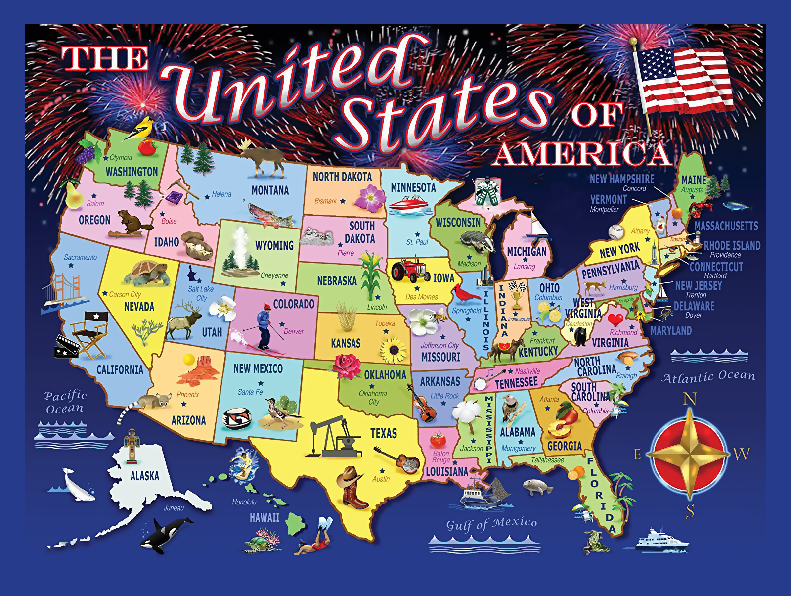 Large puzzle statemap of the USA USA Maps of the USA Maps
