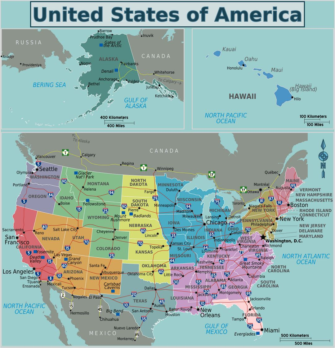 Large regions map of the USA