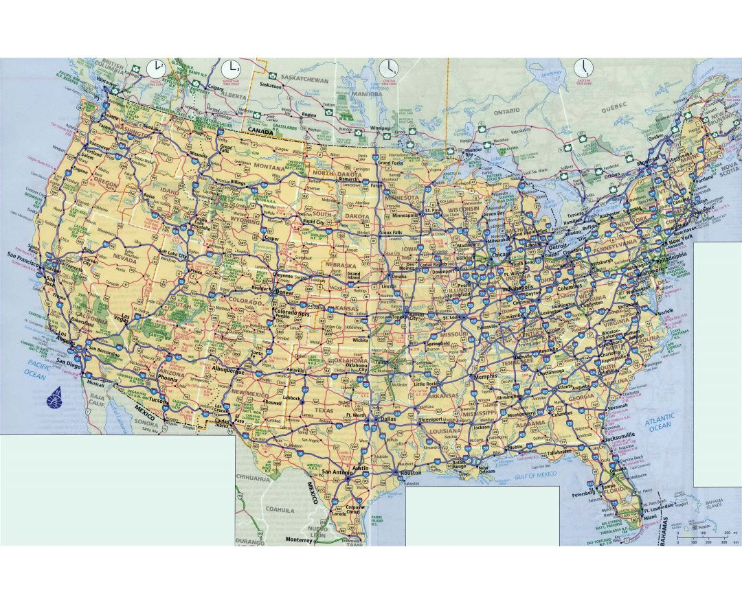 Large scale highways map of the USA
