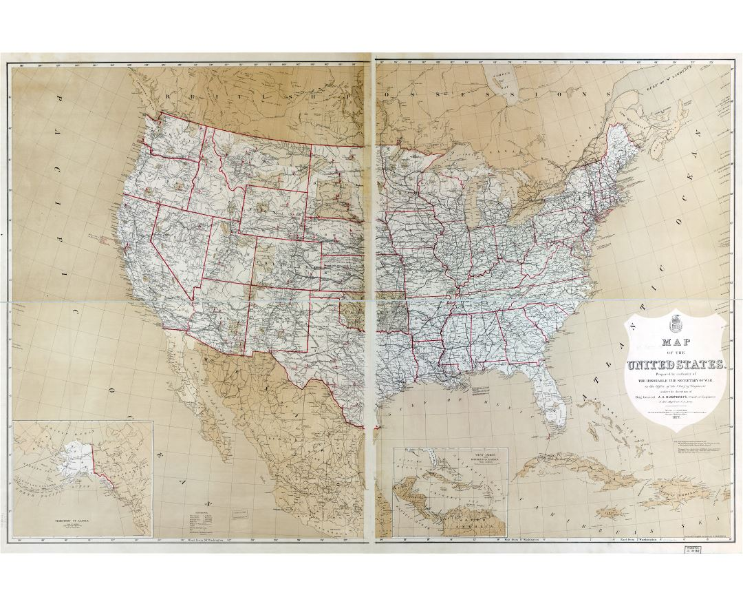 Large scale old political and administreative map of the USA - 1877