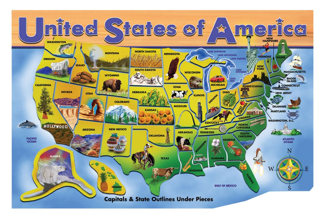 Large travel card of the USA