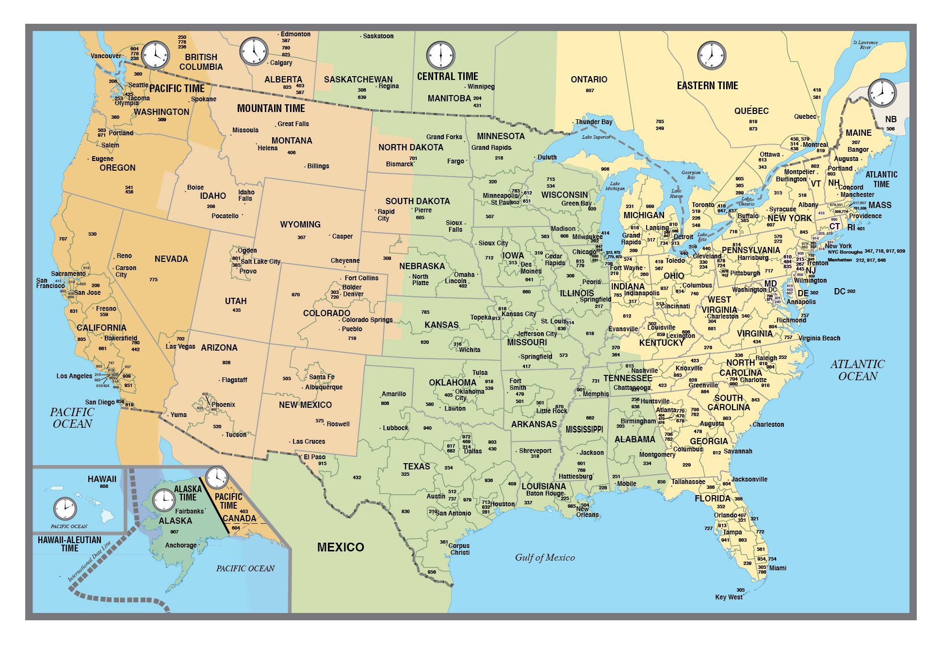 Large USA area codes map with time zones | USA | Maps of the ...