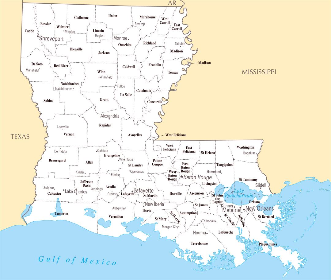 Large administrative map of Louisiana state with major cities