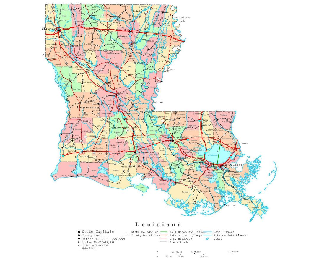 Large detailed administrative map of Louisiana state with roads, highways and cities