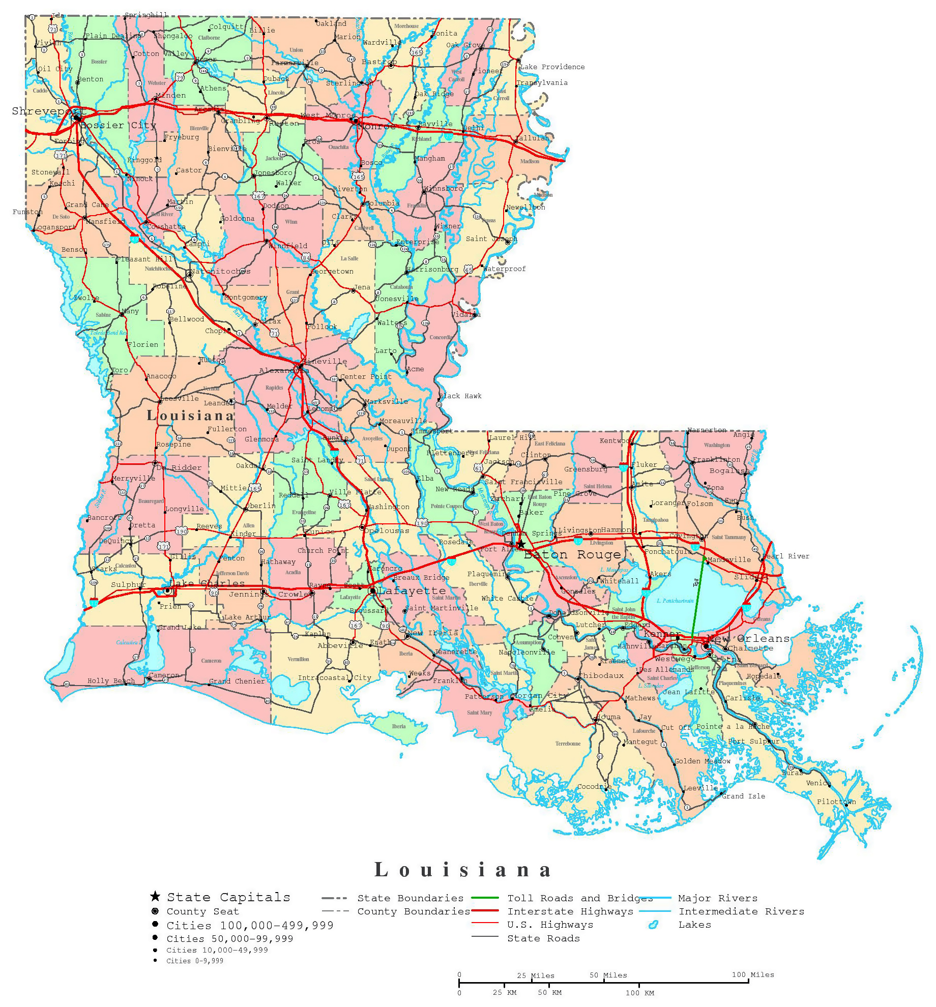 Large detailed administrative map of Louisiana state with roads