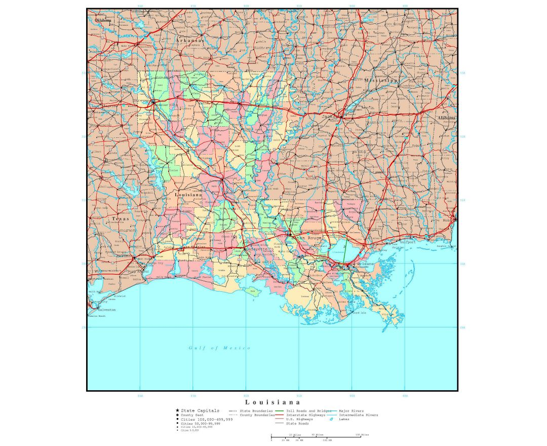 Large detailed administrative map of Louisiana state with roads, highways and major cities