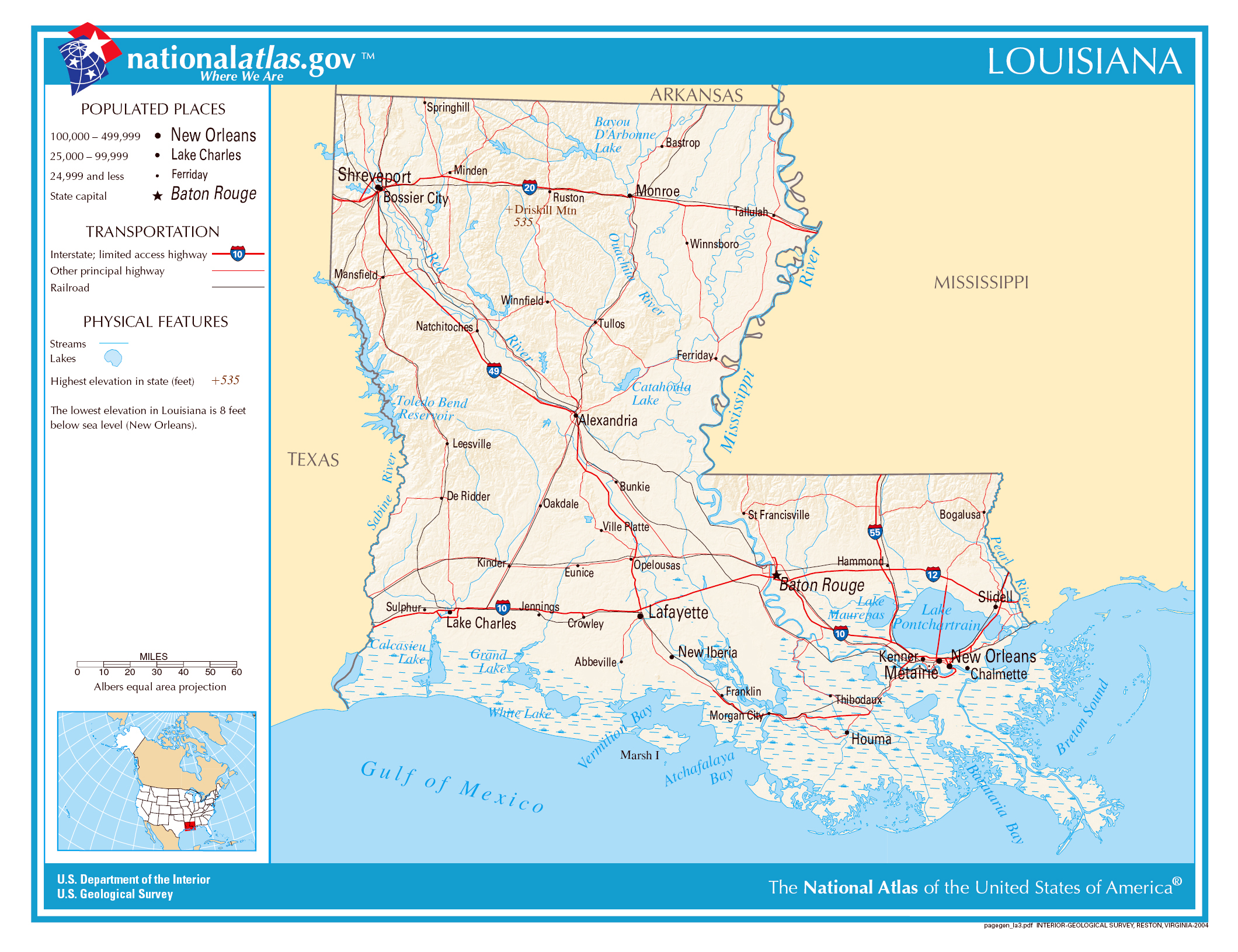 Large Detailed Map Of Louisiana State Louisiana State USA - Louisiana on usa map