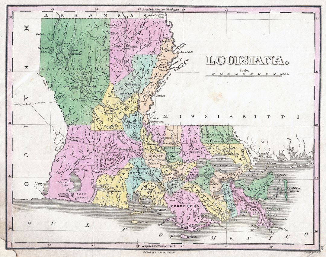 Large detailed old administrative map of Louisiana state - 1827
