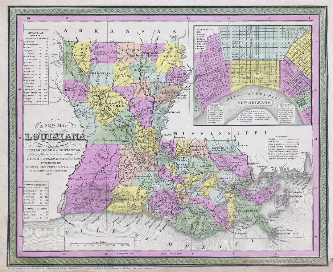 Large detailed old administrative map of Louisiana state - 1850