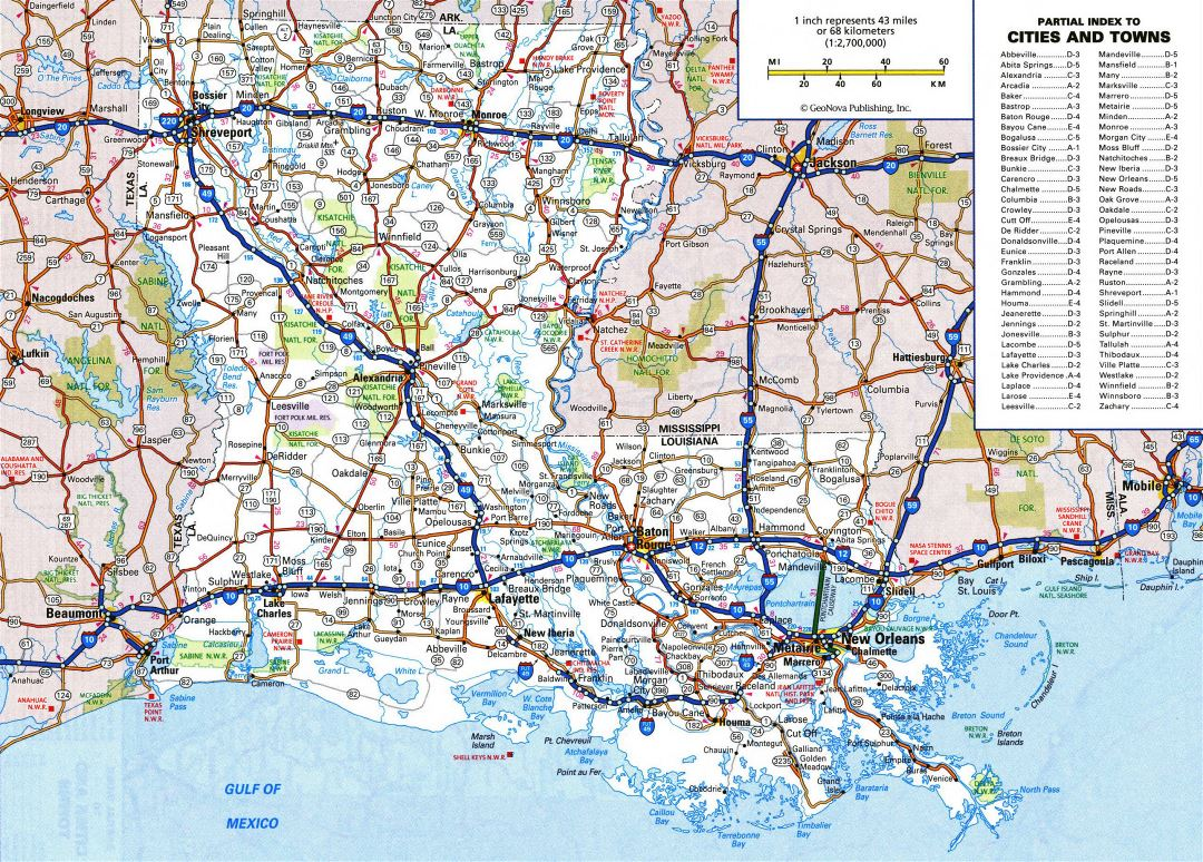 Large detailed roads and highways map of Louisiana state with all cities and national parks