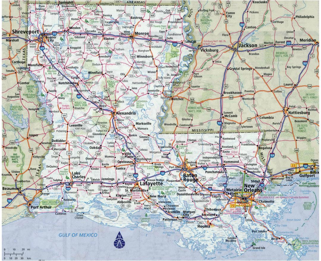Large detailed roads and highways map of Louisiana state with all cities
