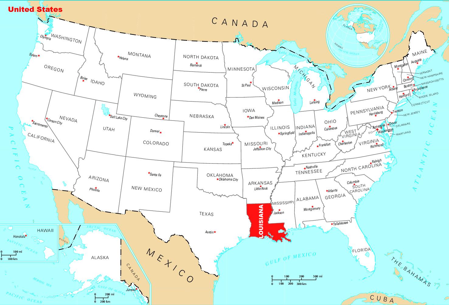 Large location map of Louisiana state Louisiana state USA Maps