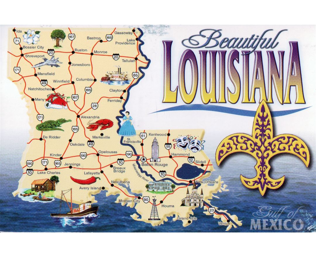 Large tourist map of Louisiana state