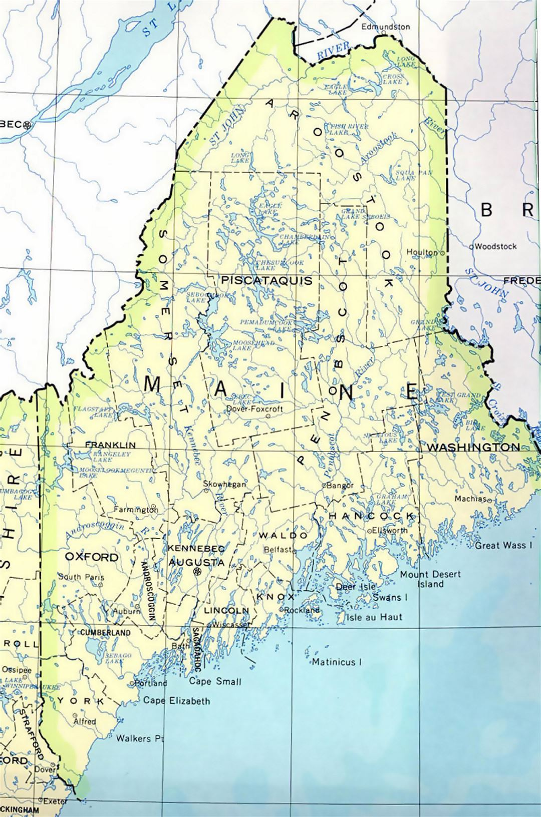 Administrative map of Maine state