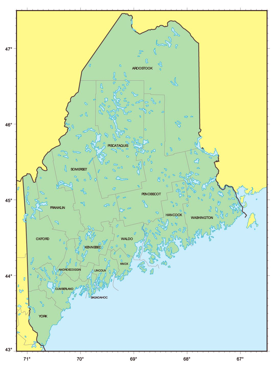 Detailed administrative map of Maine state