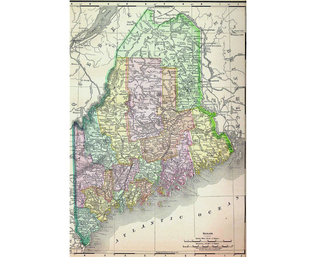 Detailed old administrative map of Maine state with roads and cities - 1895