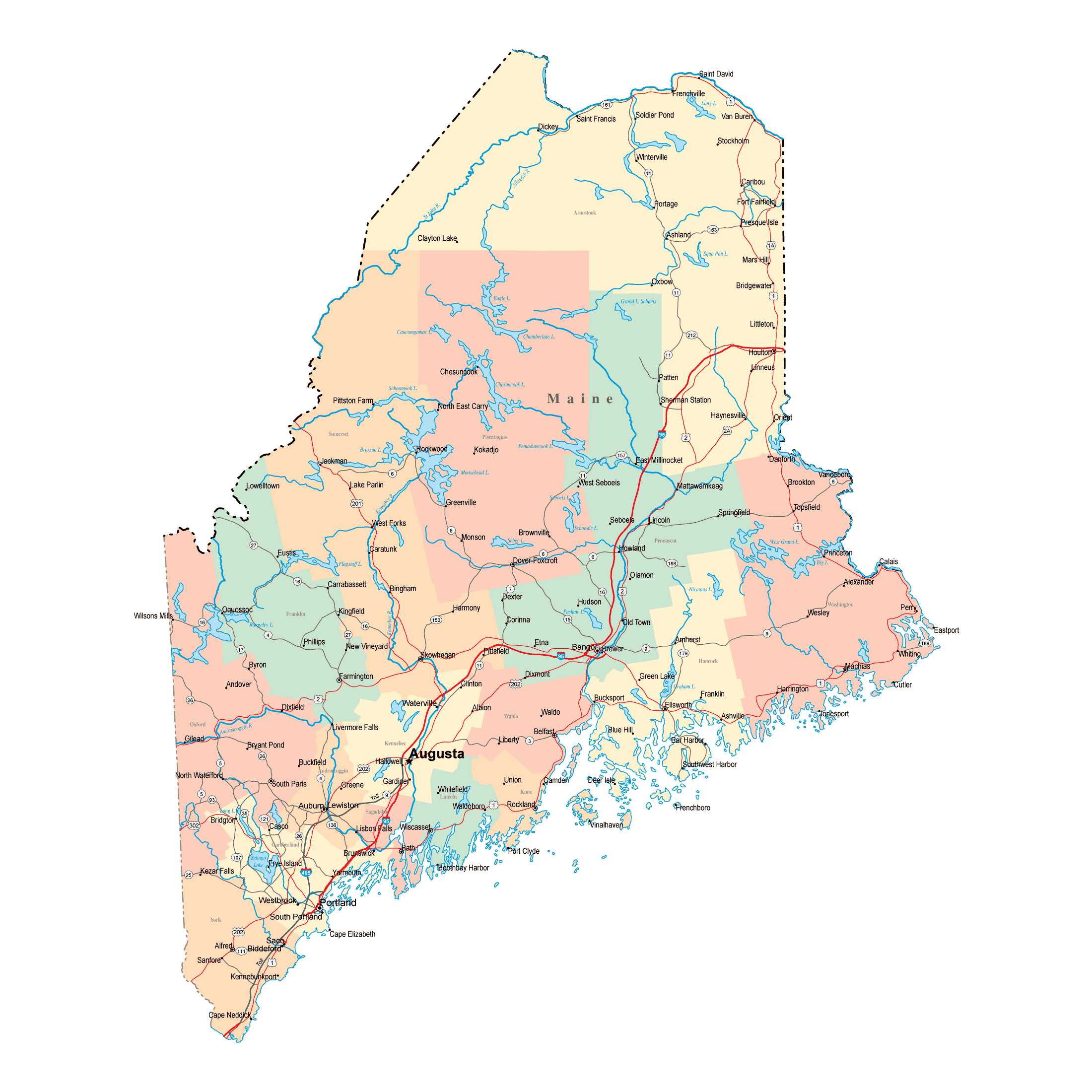 Large administrative map of Maine state with roads highways and