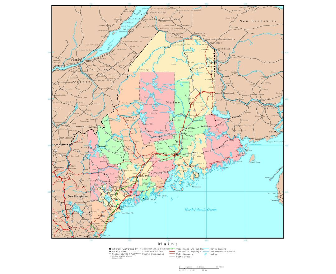 Large detailed administrative map of Maine state with roads, highways and major cities