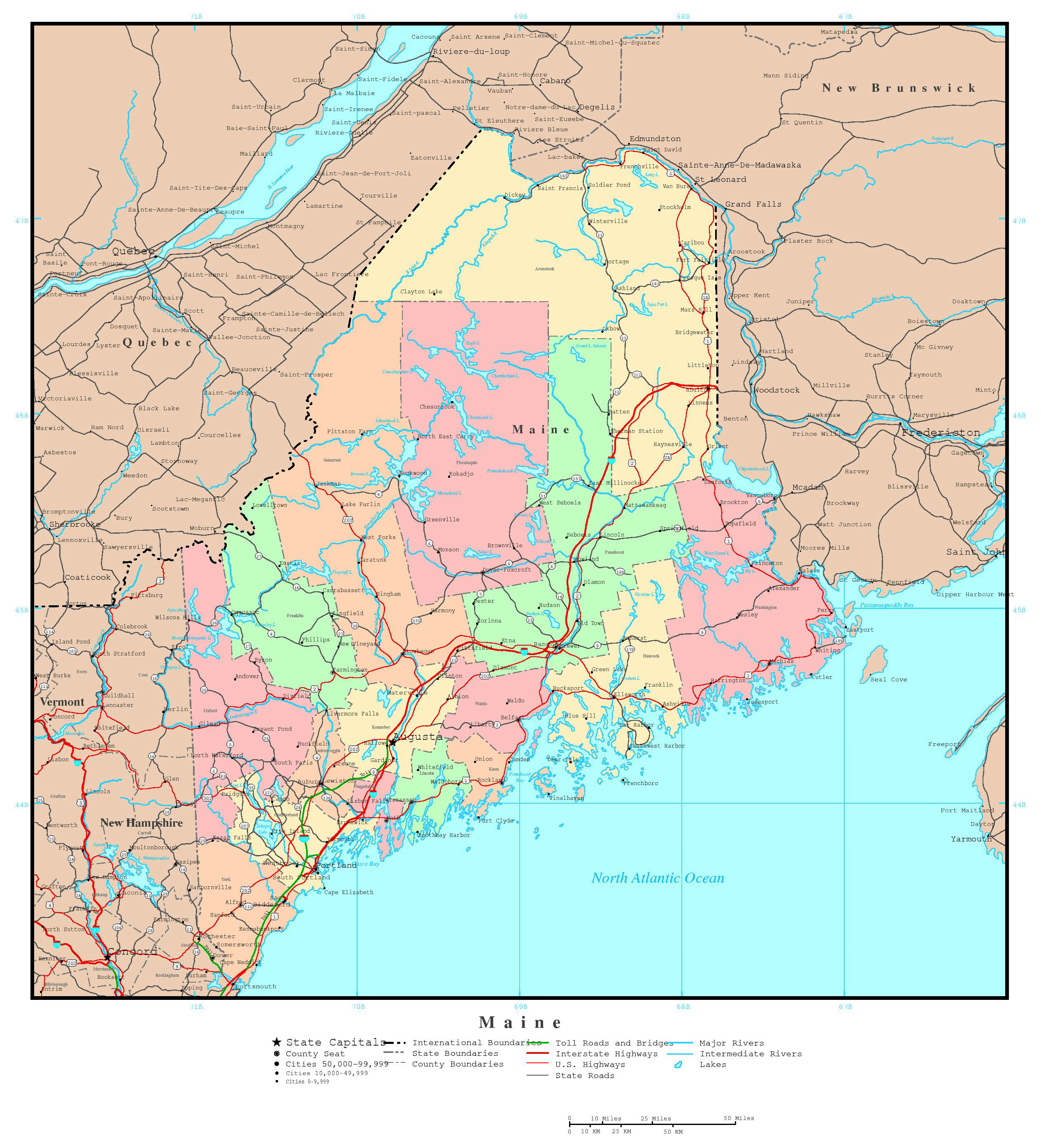 Large Detailed Administrative Map Of Maine State With Roads - Map Of Us With Majoor Cities And Roads
