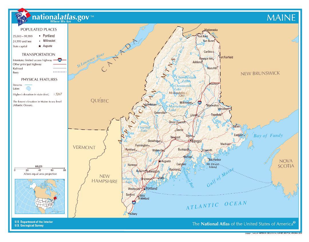 Large detailed map of Maine state
