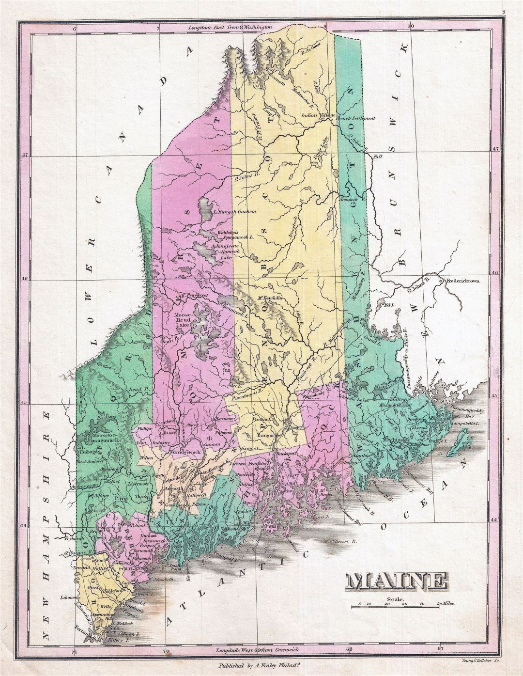 Large detailed old administrative map of Maine state - 1827