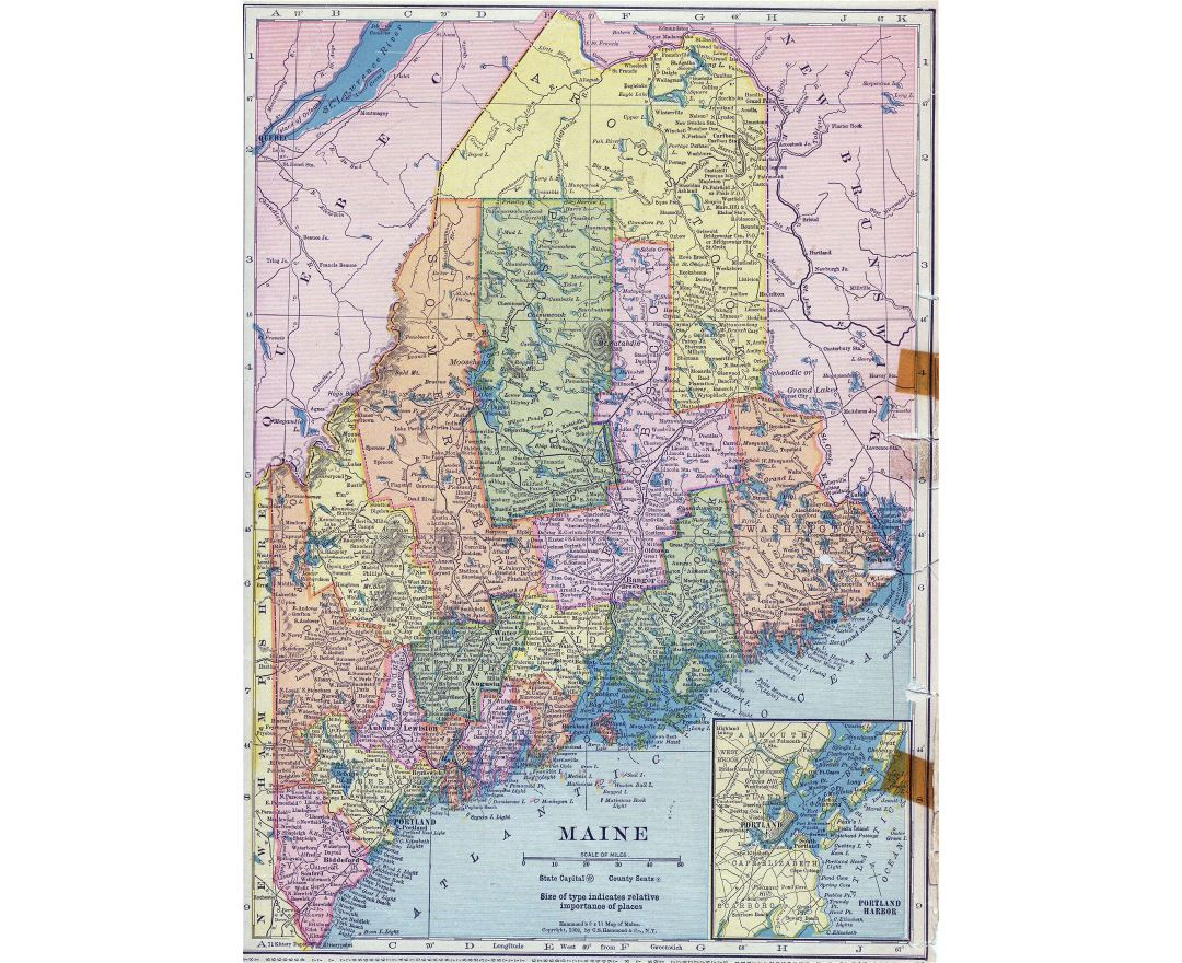 Large detailed old administrative map of Maine state with roads and cities - 1910
