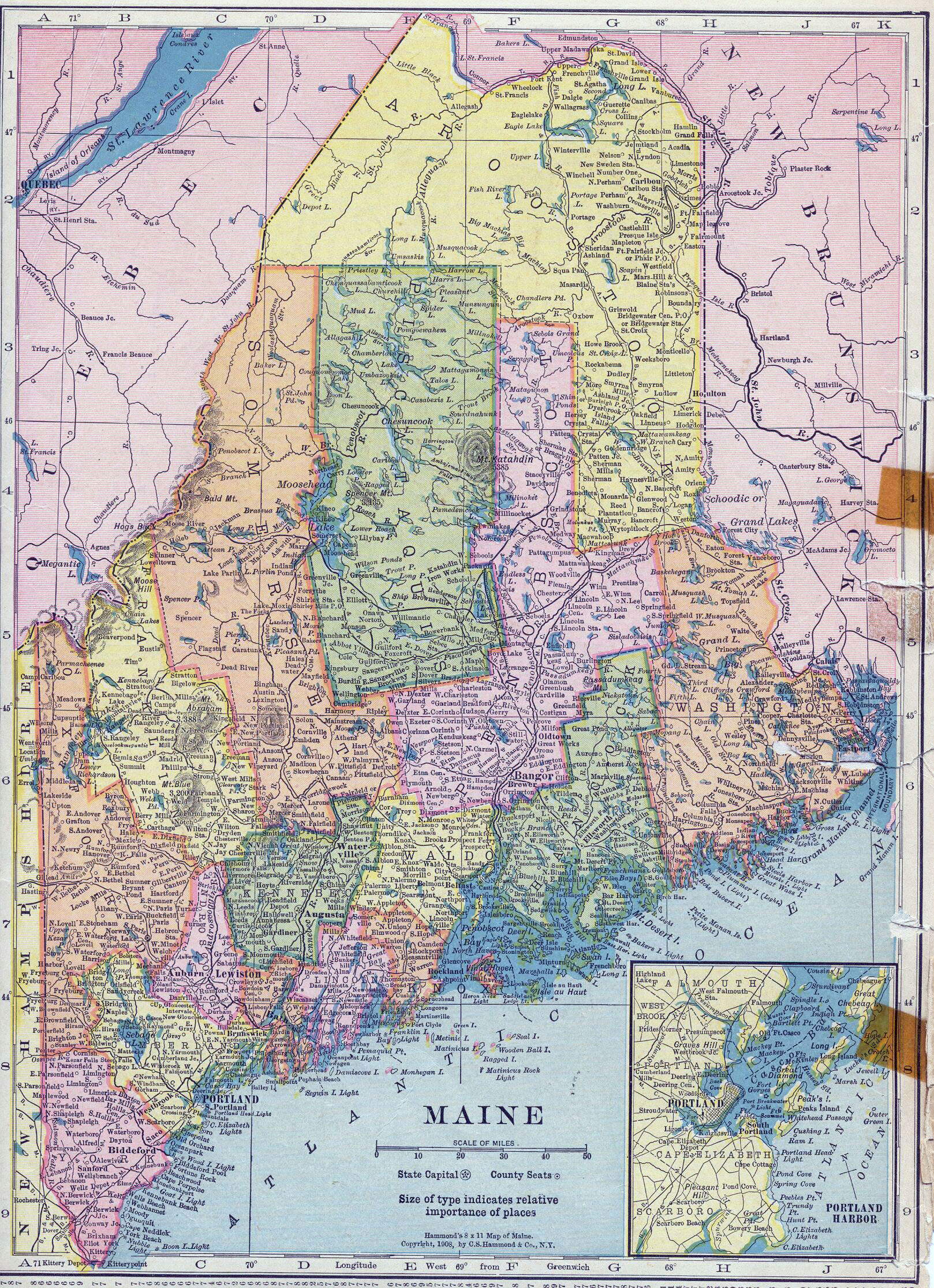 Large Detailed Old Administrative Map Of Maine State With