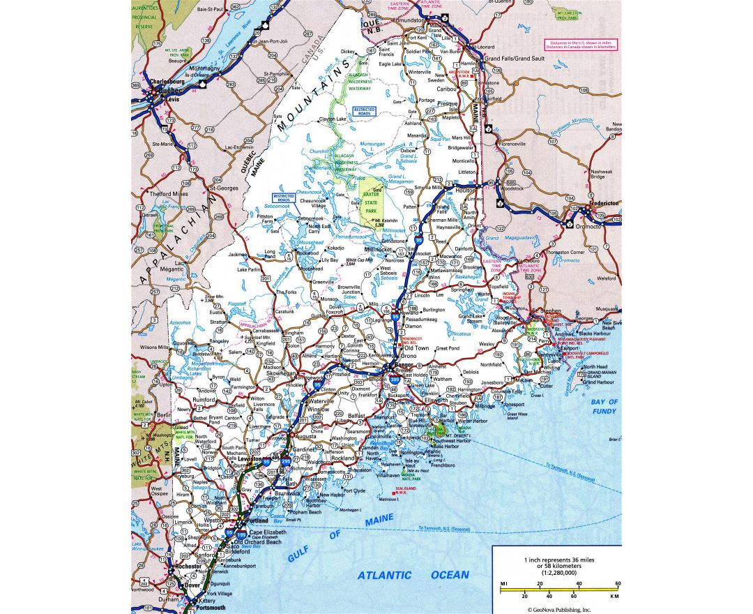 Large detailed roads and highways map of Maine state with all cities and national parks