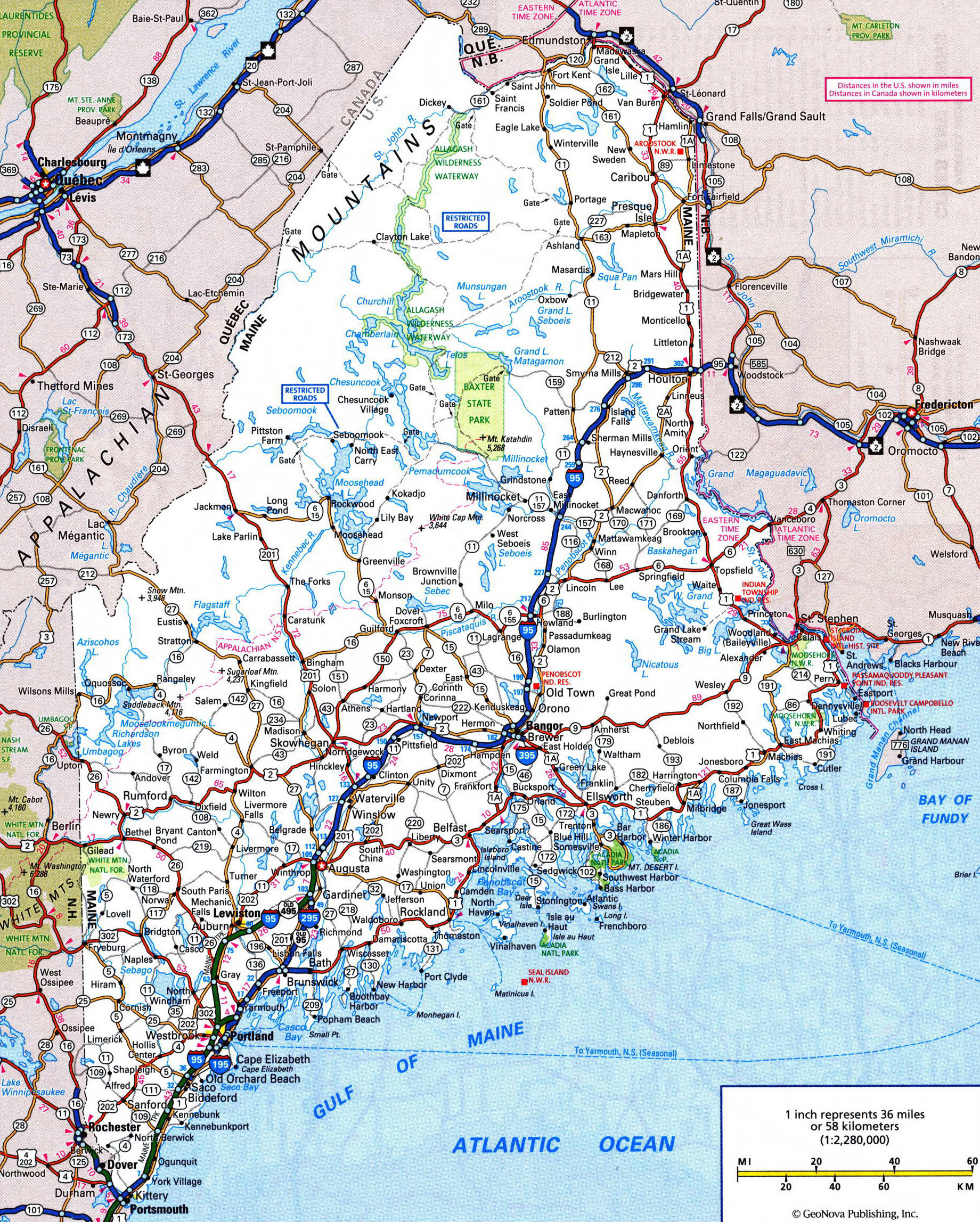 Large detailed roads and highways map of Maine state with ...