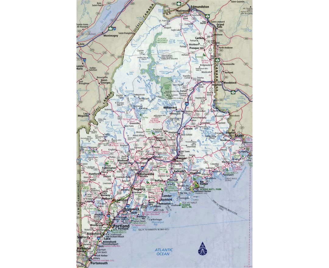 Large detailed roads and highways map of Maine state with all cities