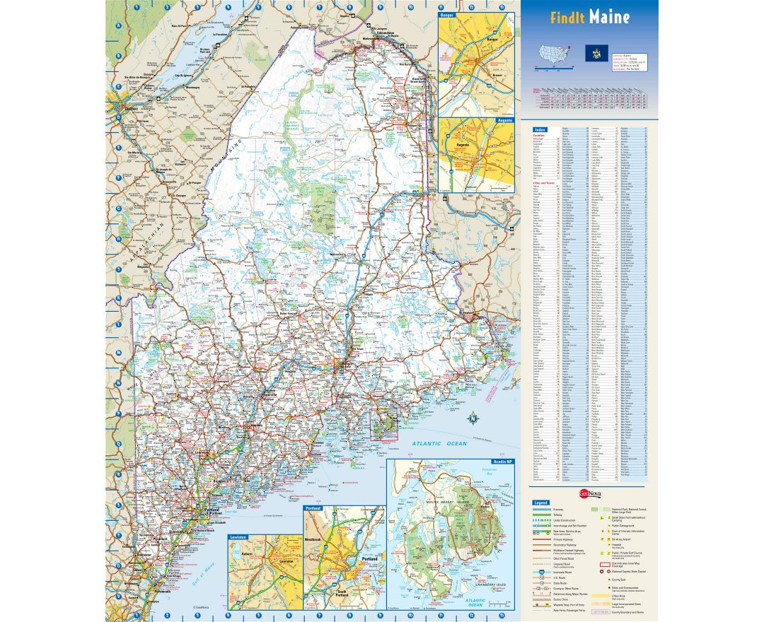 Large detailed roads and highways map of Maine state with national parks all cities towns and villages