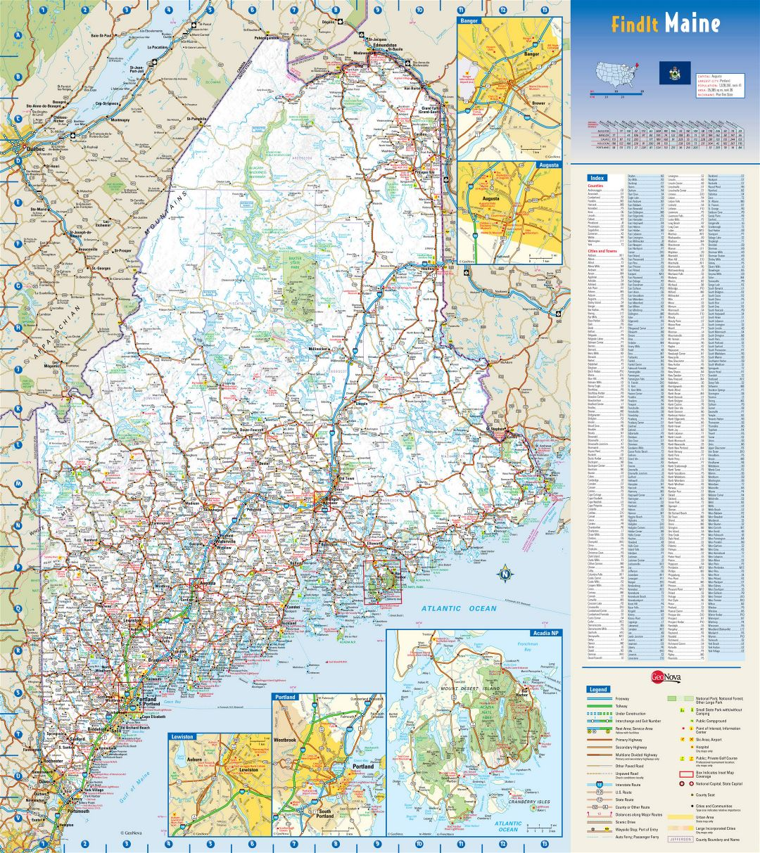 Small Villages In Usa Large Detailed Roads And Highways Map Of Maine State With
