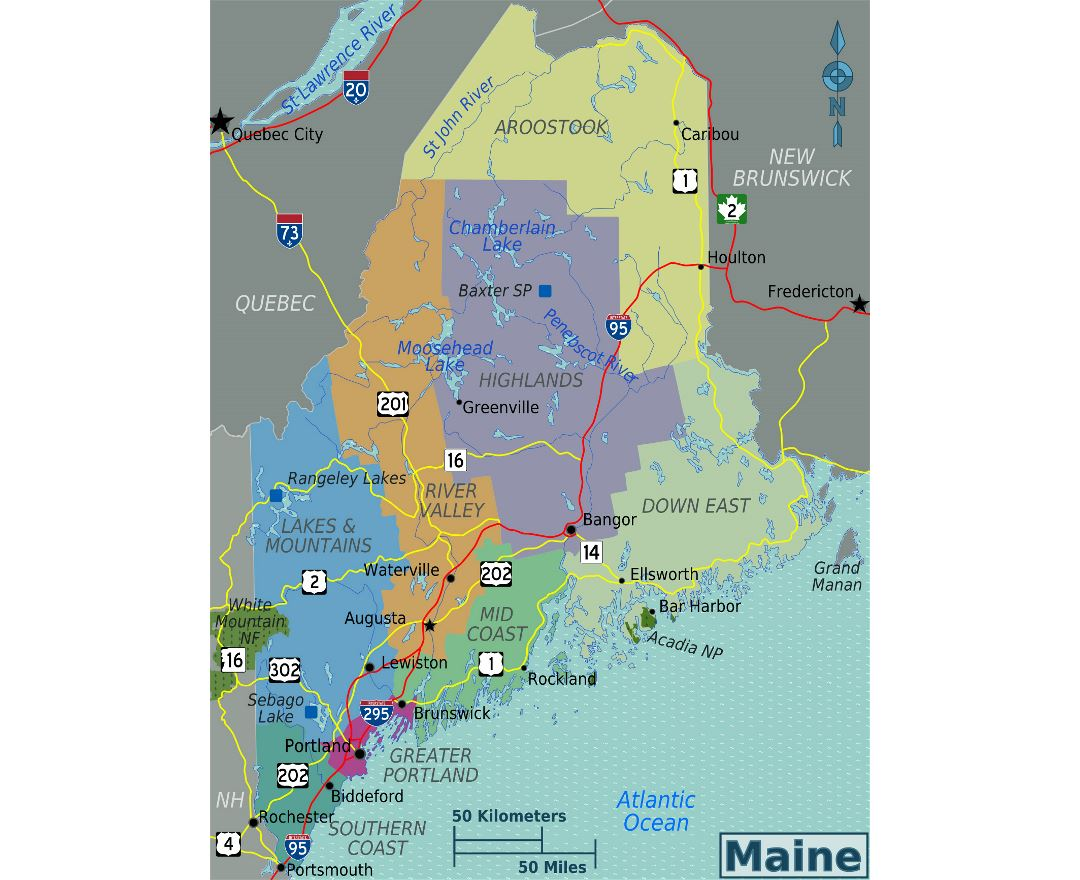 Maps of Maine state Collection of detailed maps of Maine state