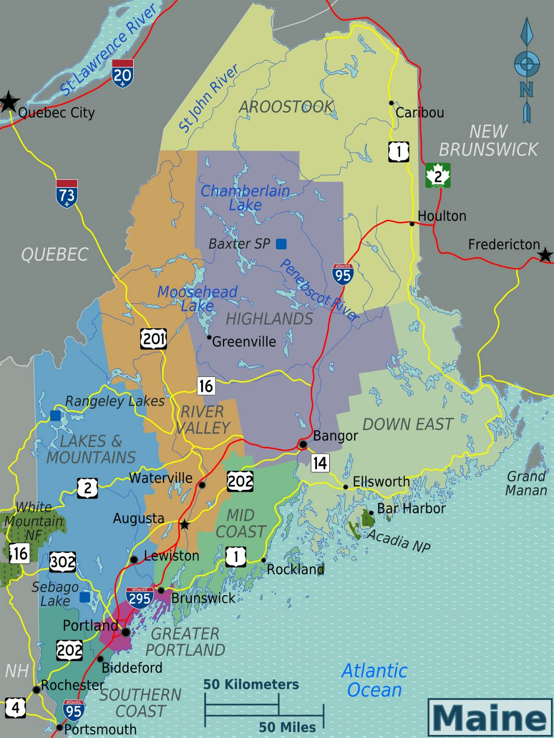 Large regions map of Maine state