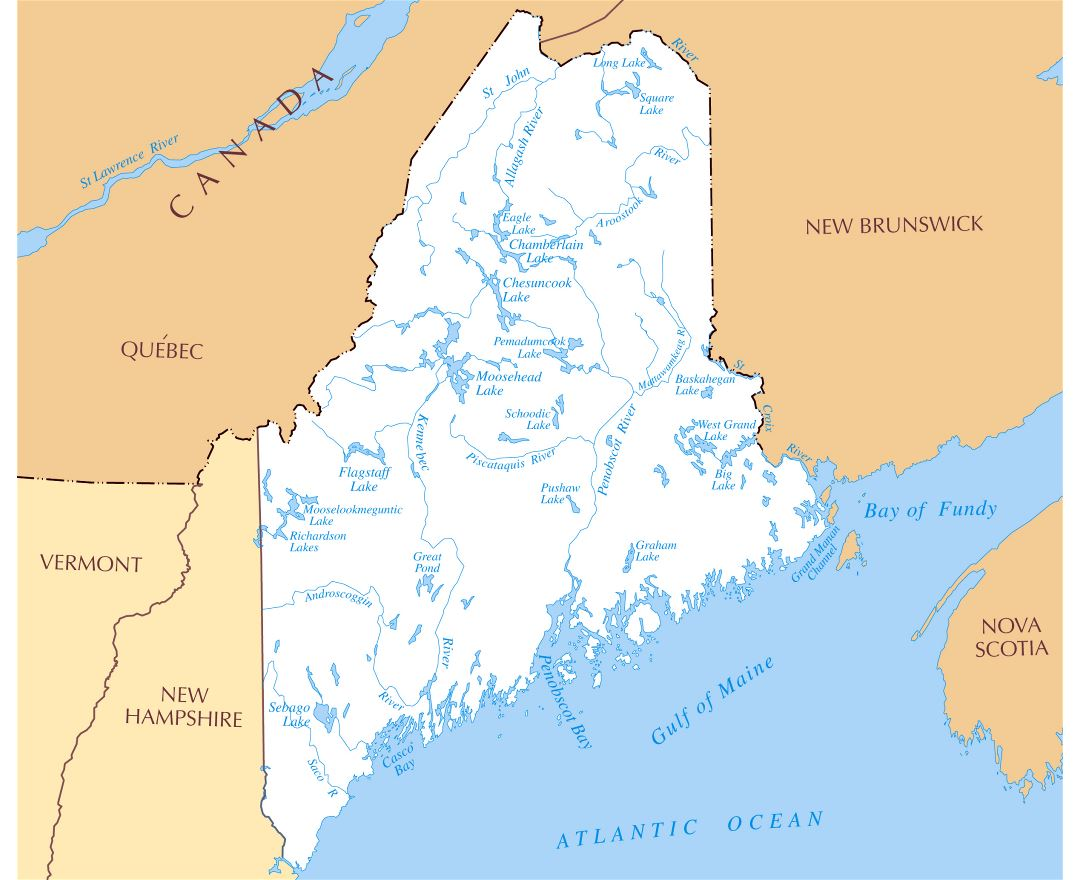 Large rivers and lakes map of Maine state