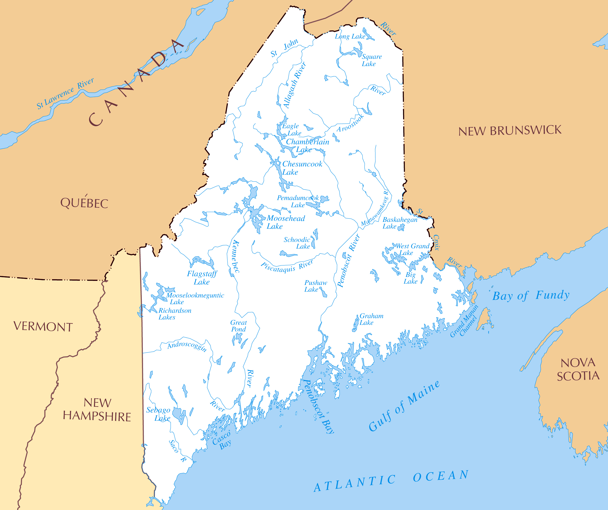 Large rivers and lakes map of Maine state | Maine state | USA | Maps ...