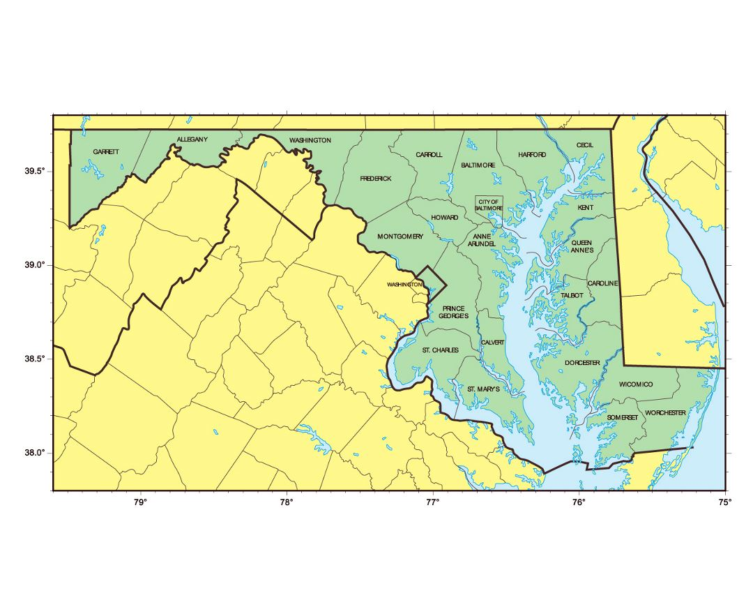 Maps Of Maryland State Collection Of Detailed Maps Of Maryland - Physical map of maryland