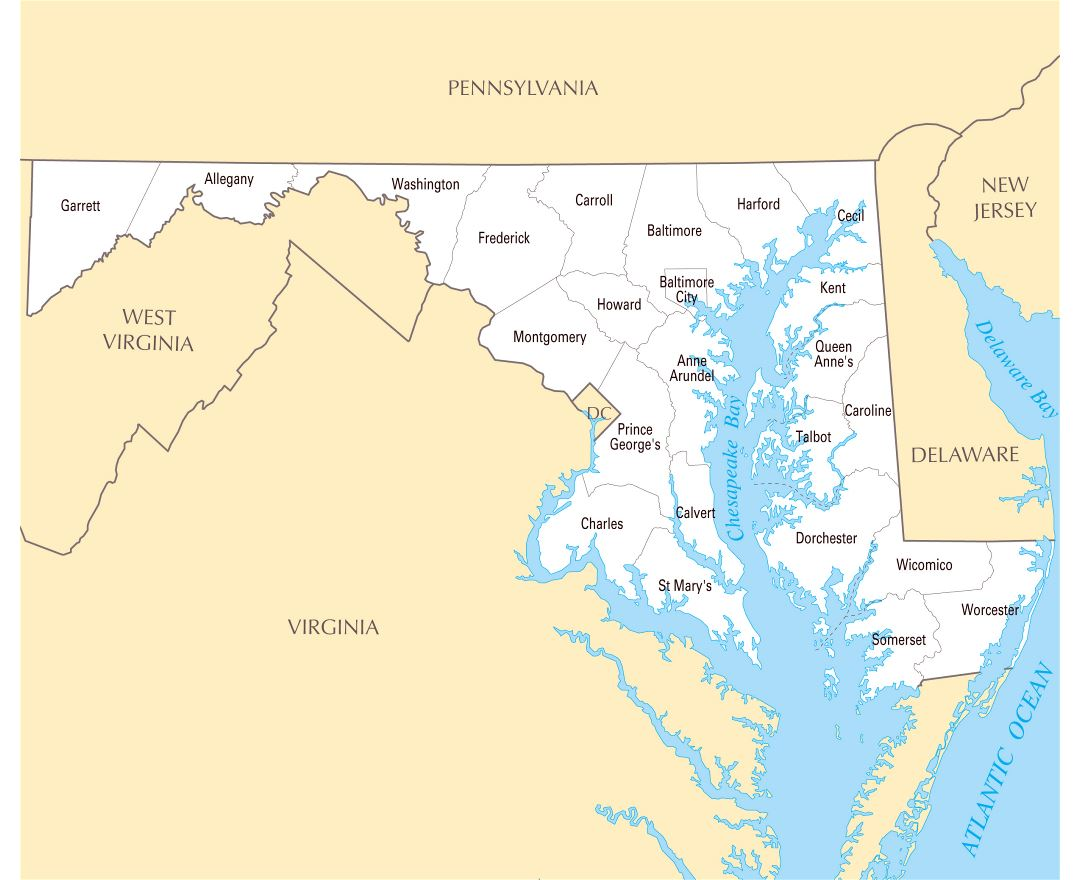 Large administrative map of Maryland state