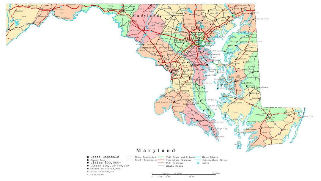 Large detailed administrative map of Maryland state with roads, highways and cities