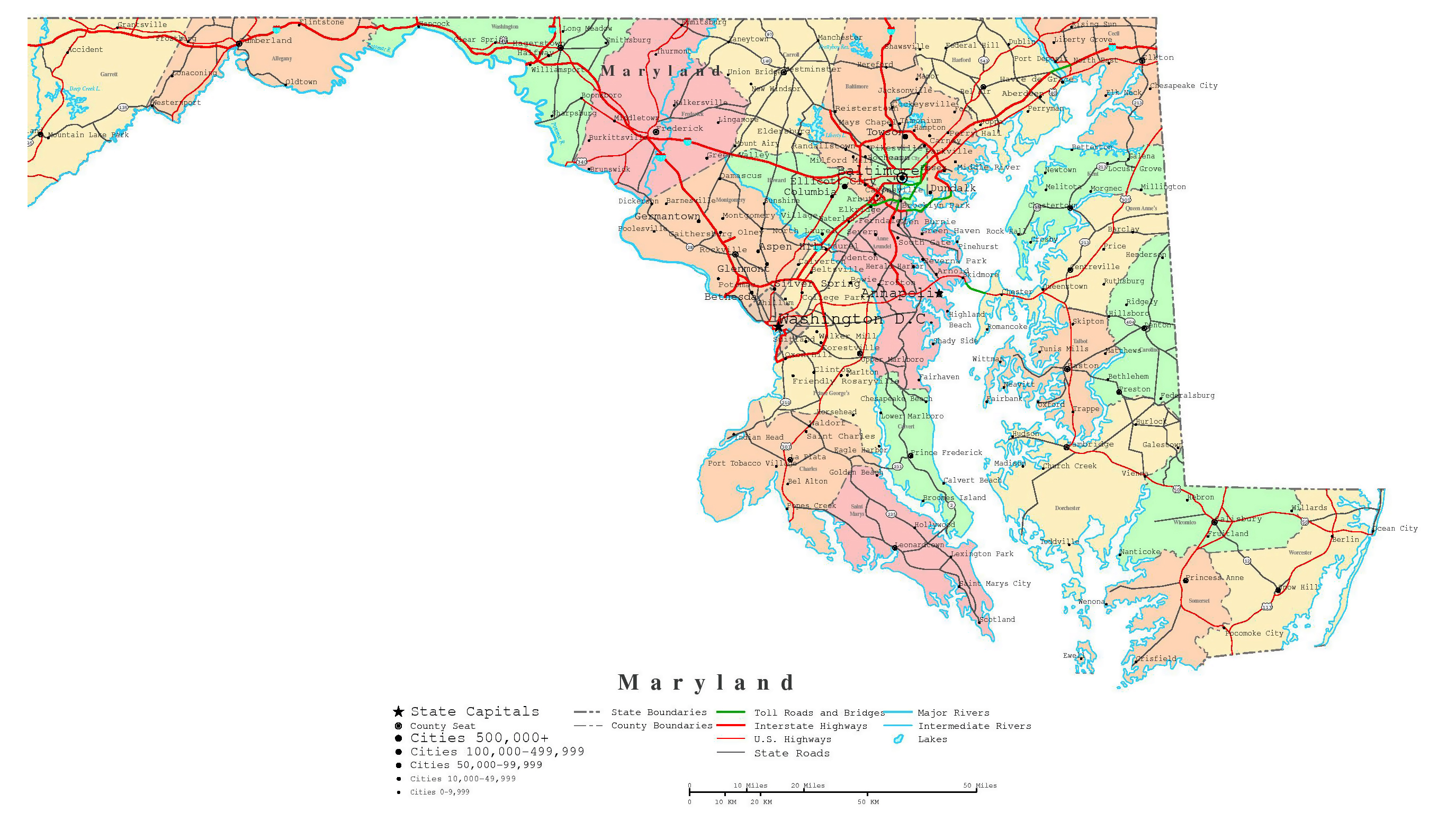 Large Detailed Administrative Map Of Maryland State With Roads Highways And Cities | Maryland ...