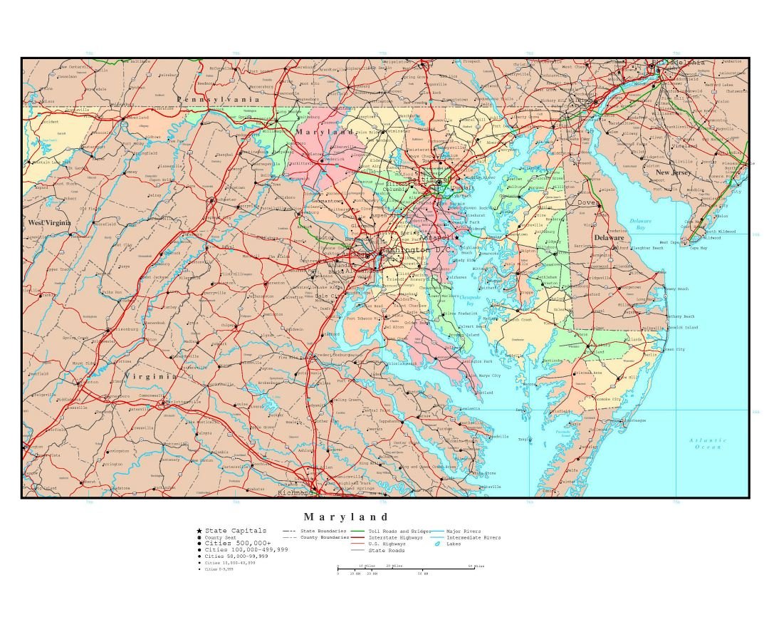 Large detailed administrative map of Maryland state with roads, highways and major cities