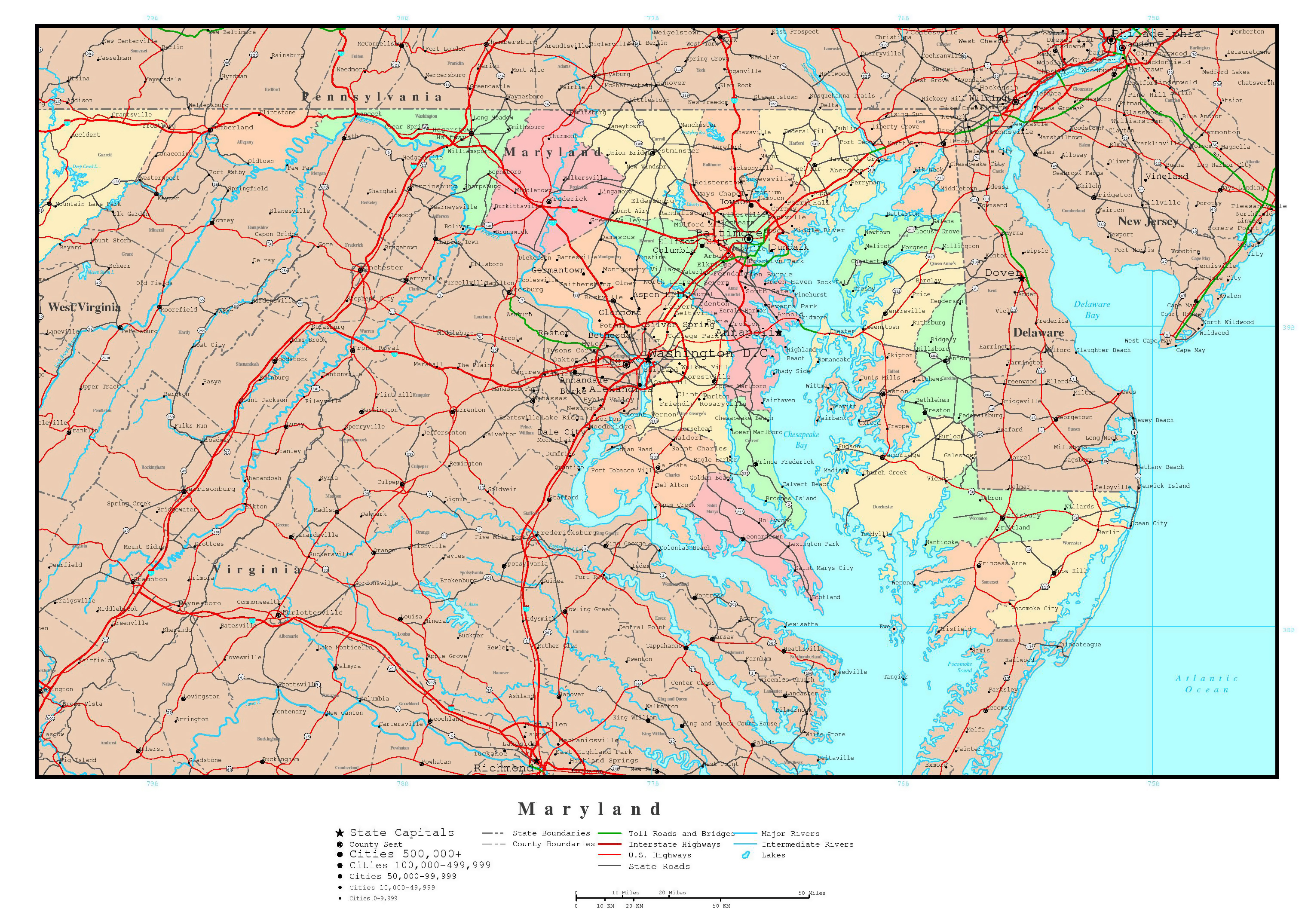 Large detailed administrative map of Maryland state with roads